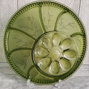 Indiana Glass Pebble Leaf Relish Plate